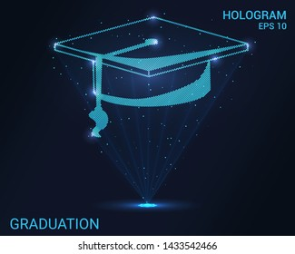 Hologram graduation. Holographic projection of the graduate's cap. Flickering energy flux of particles. Scientific design education.