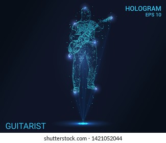 The hologram guitarist. Holographic projection guitarist. Flickering energy flux of particles. Scientific music design.