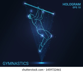 Hologram gymnastics. Holographic projection of a male gymnast. Flickering energy flux of particles. Scientific sports design.
