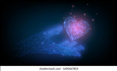Hologram hand holds a luminous heart, virtual love concept