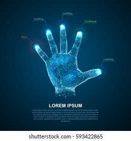 Hologram hands of lines and points. Scanning fingers. Personal identification.