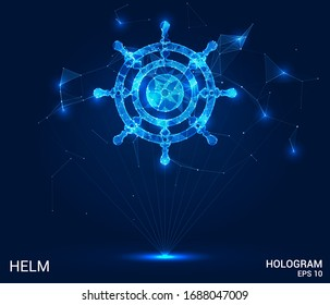 Hologram helm. The helm consists of polygons, triangles of points and lines. The steering wheel is a low-poly joint structure. The technology concept.