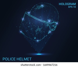 The hologram of the helmet of a policeman. Holographic projection of the police helmet. Flickering energy flux of particles.