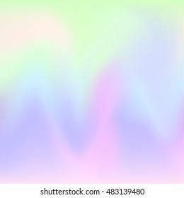 Hologram hipster card in pastel colors . Vector Abstract illustration. Glitch Holographic backdrop. Blur colorful pattern. Petrol spot background