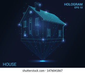 Hologram house. Holographic projection of the cottage. Flickering energy flux of particles. Scientific design architecture.