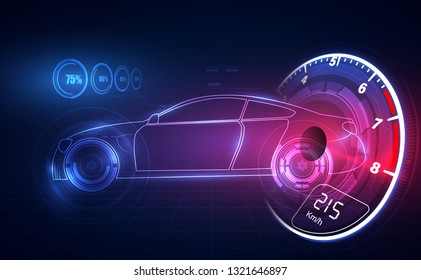Hologram in HUD UI style. Futuristic car service, scanning and auto data analysis,Virtual Graphical Interface . Vector  illusatration