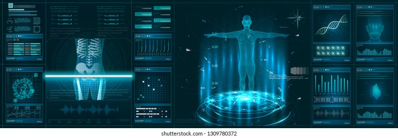 Hologram Human anatomy and skeleton. Abstract health hud ui interface element of medical science. Virtual Body Hi Tech Diagnostic Panel, Medicine, Clinic Researchers - Illustration Vector