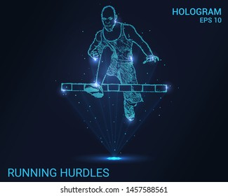 Hologram hurdles run. Hurdles running man.