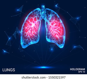 Hologram lung. Pain in the lungs from polygons, triangles, dots and lines. Lung is a low poly compound structure. The technology concept.