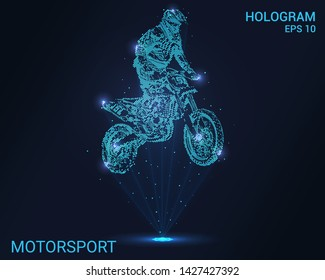 Hologram Motorsport. Holographic projection of motocross. Flickering energy flux of particles. The scientific design of the sport.