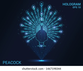 Hologram peacock. A holographic projection of a peacock's tail. Flickering energy flux of particles. Scientific animal design.