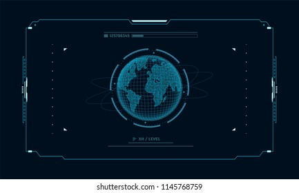 Hologram planet Earth in window virtual touchscreen user interface. Futuristic planet on control panel target screen. Concept sci fi interface for vr and video games. Vector illustration.