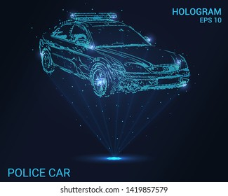Hologram police. Holographic projection of a police car. Flickering energy flux of particles.