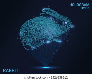 Hologram rabbit. Holographic projection of a rabbit. Flickering energy flux of particles. Scientific design animals.