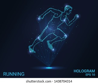 Hologram running. A man runs. Flickering energy flux of particles. The scientific design of the sport.