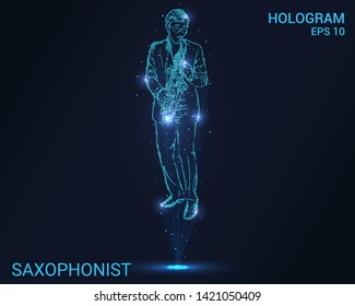 Hologram saxophonist. Holographic projection of the saxophonist. Flickering energy flux of particles. Scientific music design.