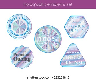 Hologram set shapes illustration sticker quality emblem