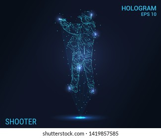 The hologram the shooter. A man shoots a gun. Flickering energy flux of particles. The scientific design of the weapon.