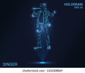 A hologram singer. Holographic projection of a man with a microphone. Flickering energy flux of particles. Scientific music design.