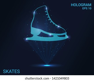 Hologram skates. Holographic projection of skates. Flickering energy flux of particles.