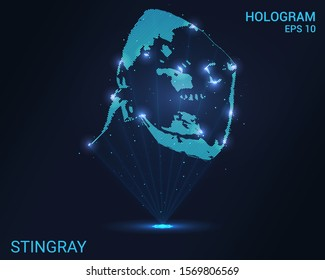 Hologram Stingray. A holographic projection of the Stingray. Flickering energy flux of particles. Scientific design water world.