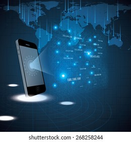 Hologram style futuristic design blue background illustration