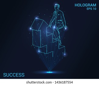 Hologram of success. A man in a suit climbs the stairs. Flickering energy flux of particles. Scientific success design.