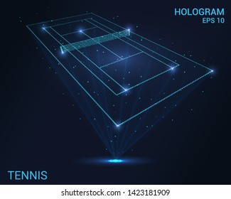 Hologram tennis. Holographic projection of the tennis court. Flickering energy flux of particles. The scientific design of the sport.