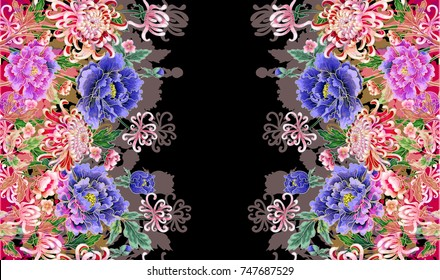 Hologram, three-dimensional image of Japanese peonies and chrysanthemums for printing on fabric. Vector illustration.
