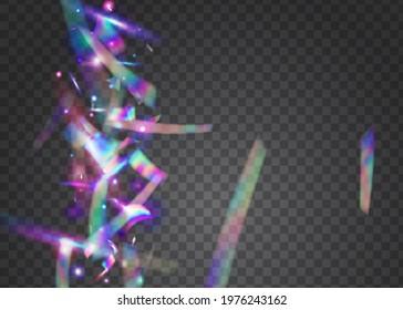 Hologram Tinsel. Birthday Sparkles. Blue Retro Effect. Disco Design. Luxury Foil. Falling Confetti. Blur Christmas Gradient. Holiday Art. Pink Hologram Tinsel
