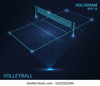 Hologram volleyball. Holographic projection of a volleyball court. Flickering energy flux of particles. The scientific design of the sport.