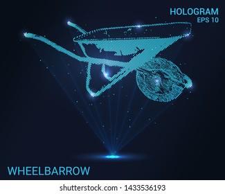 Hologram wheelbarrow. Holographic projection garden wheelbarrow. Flickering energy flux of particles. Scientific design of the garden.