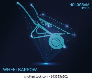 Hologram wheelbarrow. Holographic projection garden wheelbarrow. Flickering energy flux of particles.