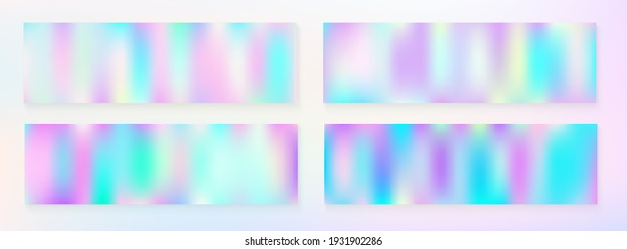 Holograph Trendy Banner. Neon Texture Overlay, 80s, 90s Music Background Fluorescent Holographic Liquid Glam Horizontal Wallpaper Unfocused Girlie Foil Holo Teal. Rainbow Overlay Hologram Cover.