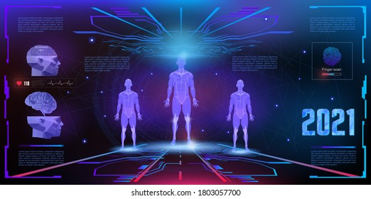 Holographic 3D human projection in 3D space of the HUD user interface. Modern concept banner. Human biometric parameters with virtual medical interface elements set. DNA and bioscanner