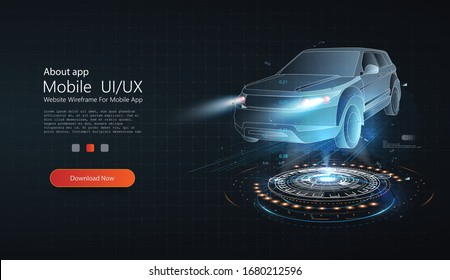 Holographic 3D wireframe car model rotating in black virtual space. Smart car isometric banner. Abstract project of a smart, intelligent car. Hologram auto, futuristic model auto.Automotive technology