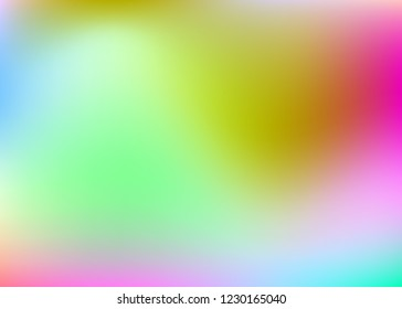 Holographic abstract background. Neon holographic backdrop with gradient mesh. 90s, 80s retro style. Iridescent graphic template for book, annual, mobile interface, web app.