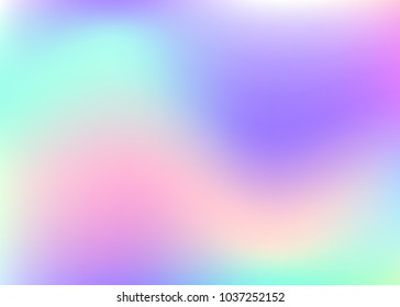 Holographic abstract background. Stylish holographic backdrop with gradient mesh. 90s, 80s retro style. Pearlescent graphic template for placard, presentation, banner, brochure.