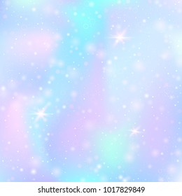 Holographic abstract background. Trendy holographic backdrop with gradient mesh. 90s, 80s retro style. Iridescent graphic template for brochure, flyer, poster design, wallpaper, mobile screen.
