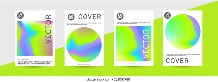 Holographic abstract liquid background set. Bright neon mesh blurred pattern in lime, blue, purple tones. Fashionable advertising vector in retro for book, annual, mobile interface, web application. -