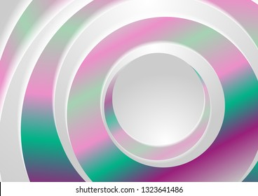 Holographic abstract rings circles geometric background. Vector design