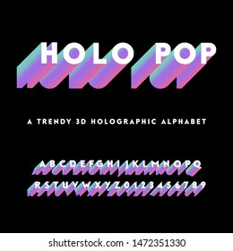 Holographic Alphabet - Holographic alphabet with colorful 3D letters. Capital letters and numbers are included.