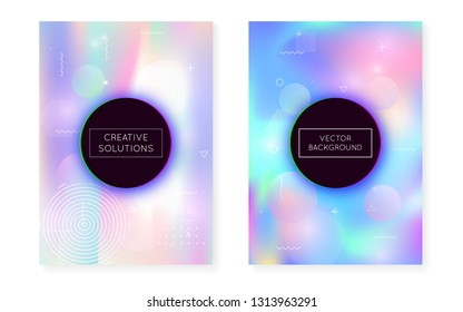 Holographic background with liquid shapes. Dynamic bauhaus gradient with memphis fluid cover. Graphic template for book, annual, mobile interface, web app. Fluorescent holographic background.