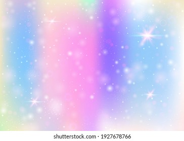 Holographic background with rainbow mesh. Girlie universe banner in princess colors. Fantasy gradient backdrop with hologram. Holographic magic background with fairy sparkles, stars and blurs.