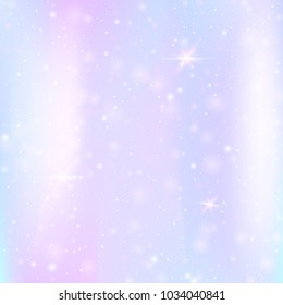 Holographic background with rainbow mesh. Kawaii universe banner in princess colors. Fantasy gradient backdrop with hologram. Holographic fairy background with magic sparkles, stars and blurs.