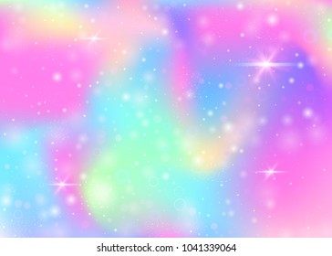 Holographic background with rainbow mesh. Liquid universe banner in princess colors. Fantasy gradient backdrop with hologram. Holographic unicorn background with fairy sparkles, stars and blurs.