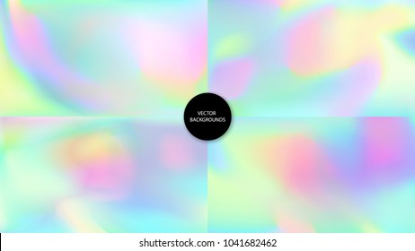 Holographic backgrounds. Holography textures set. Hologram glitch. Chameleon colors. Trendy wallpapers. Fashion backdrops. Rainbow textures collection.