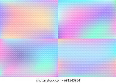 Holographic backgrounds set. Smooth multicolor textures. Hologram backdrops. Pastel trendy blurs. Modern vector illustrations for web design, fashion or printed products.