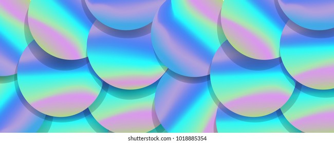 Holographic big sequined fabric textile, pink purple and violet lilac glistening sequins. Sequins texture vector.