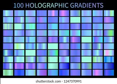 Holographic blue gradient colorful background Vector. Hologram foil texture gradient template. Vector swatch set.  Holograph gradient illustration gradation for backgrounds, banner user interface